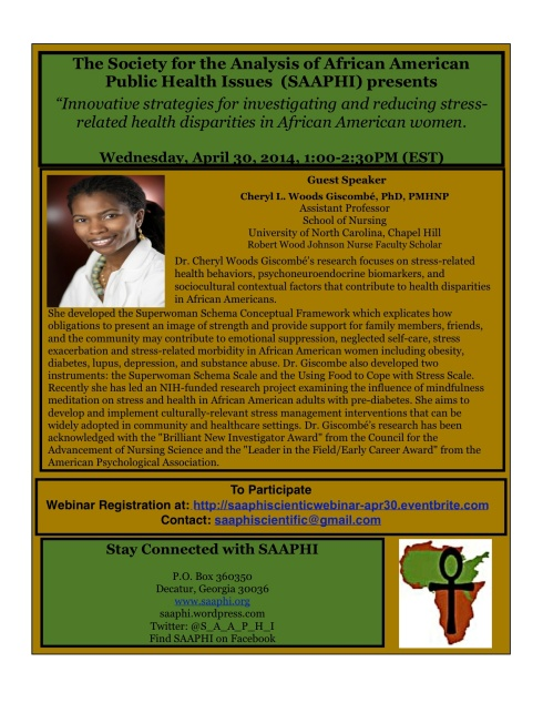 SAAPHI WEBINAR: Innovative Strategies for investigating & reducing stress-health related disparities in African American women